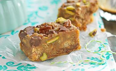 Nutty fudge slice
