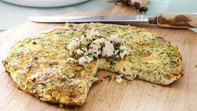 Courgette and feta frittata