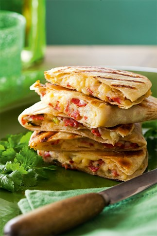 Quesadillas with chorizo and cheese
