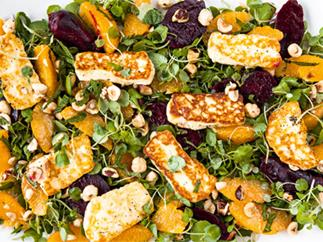 Matakana salad with orange, beetroot and haloumi