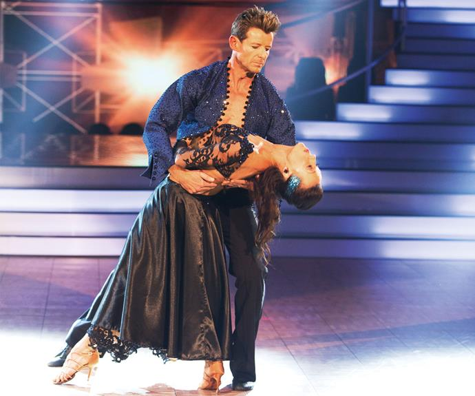 "Left: Simon and Vanessa's final dance, a paso doble, earned them a standing ovation and a perfect score. Right: Simon says his victory was ""90%"" down to Vanessa."