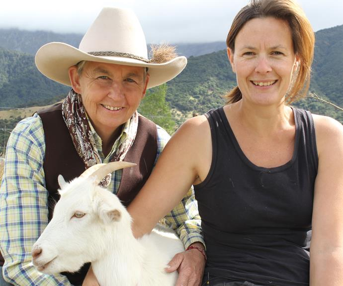 Jolls getting to grips with goats with Sarah Jenkins from Kaikoura Cheese.