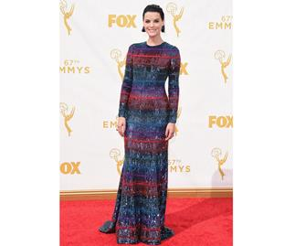 There was a rainbow coloured dress theme on the red carpet for the 67th Emmy Awards.