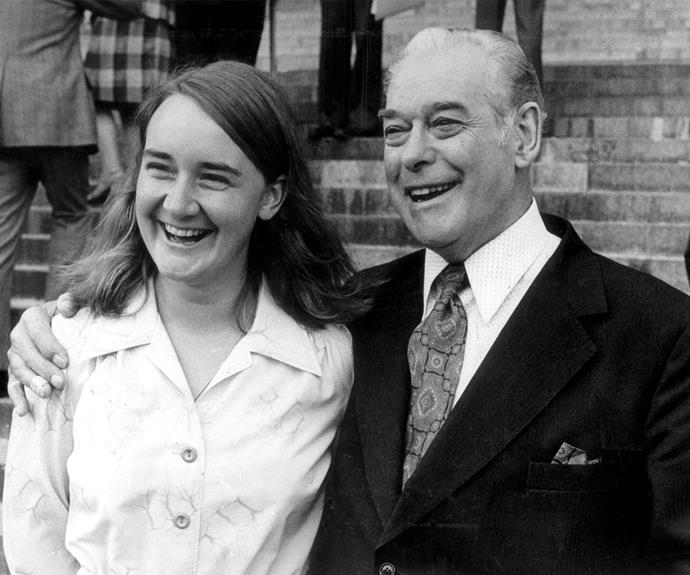 Marilyn, seen here with former Prime Minister Sir Keith HolyMake, became New Zealand's youngest MP when she was elected in 1975.