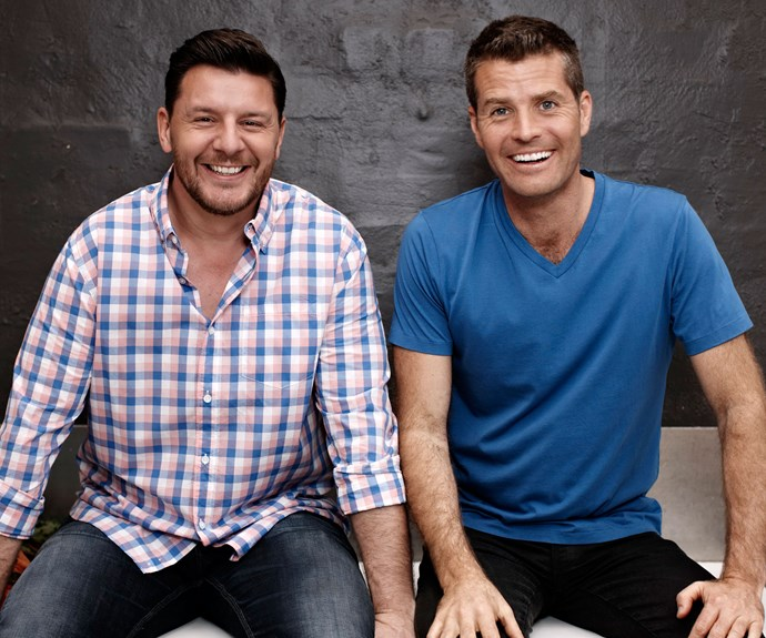 Pete Evans with his *My Kitchen Rules* co-judge and friend Manu Feildel.
