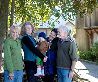 Amanda Garland (second from left), resident at eco-village Earthsong.