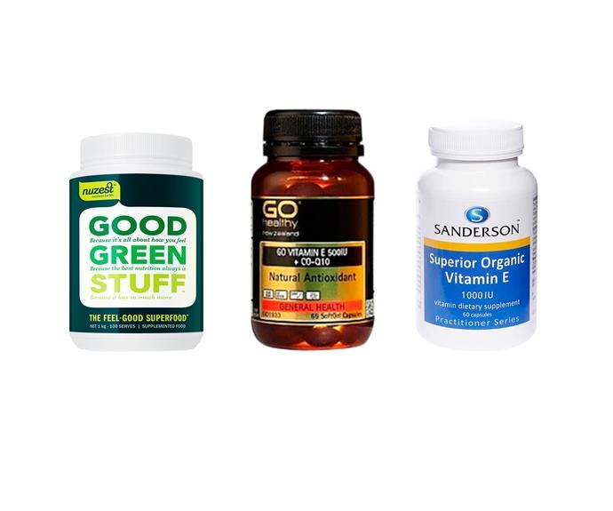 From left to right: Vital Health Good Green Stuff, 120g, $39.50. Go Healthy Go Vitamin E, 65 capsules, $21.90. Sanderson Superior Organic Vitamin E, 60 capsules, $25.90.