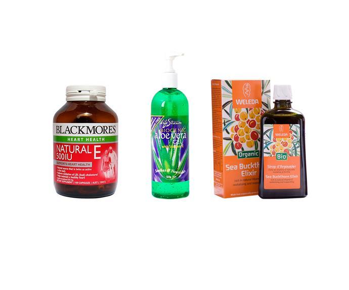 From left to right:  Blackmores Natural E, 120 capsules, $51.70. Lifestream Aloe Vera Gel, 500g, $22.20. Sea Buckthorn Elixir, 200ml, $29.90.