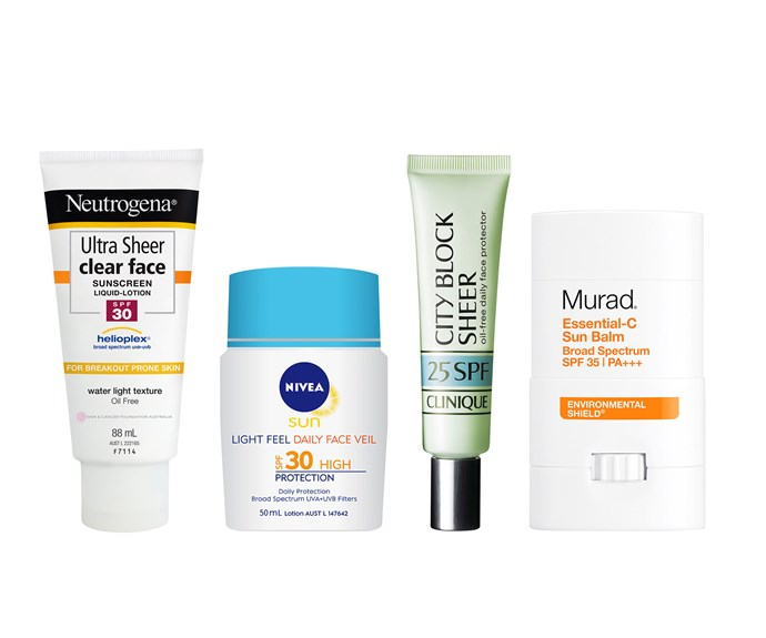 From left to right: Neutrogena Ultra Sheer Clear Face SPF30, $22.99. Nivea Sun Light Feel Daily Face Veil SPF30, $10.49. Clinique City Block Sheer SPF25, $50.  Murad Essential-C Sun Balm SPF35, $54.