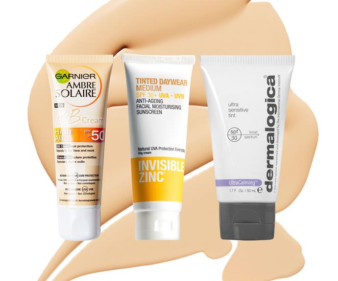 From left to right: Garnier Ambre Solaire BB Cream SPF50, $17.49. Invisible Zinc Tinted Daywear SPF30+, $29.99. Dermalogica Ultra Sensitive Tint SPF30, $70.