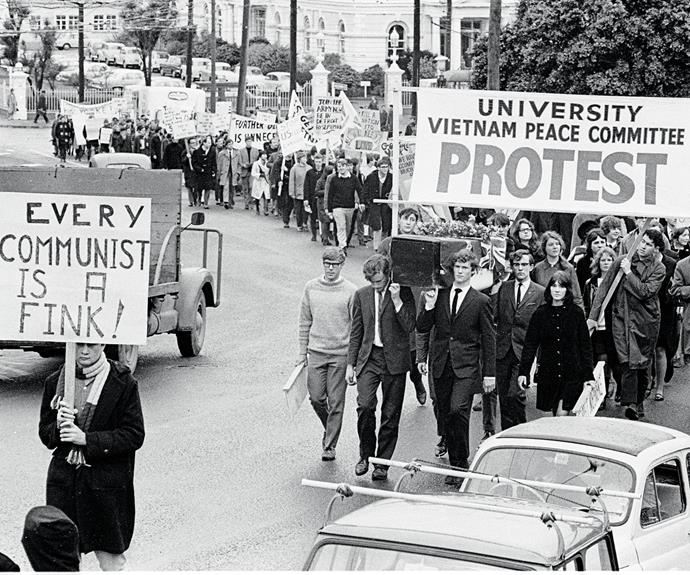 Victoria University students protest against the war, 1967.