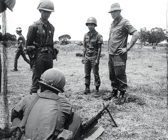 Part of New Zealand's involvement in Vietnam was training local soldiers – here they are being shown how to operate a machine gun.