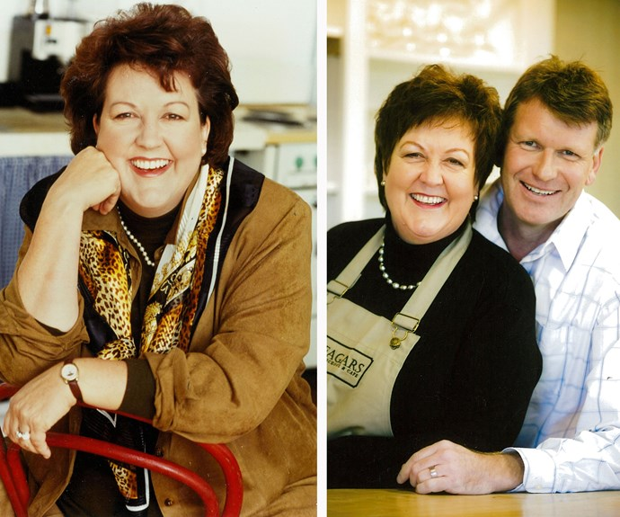A 1999 TVNZ publicity shot (left). Jo and husband Ross, mid 1980s (right).