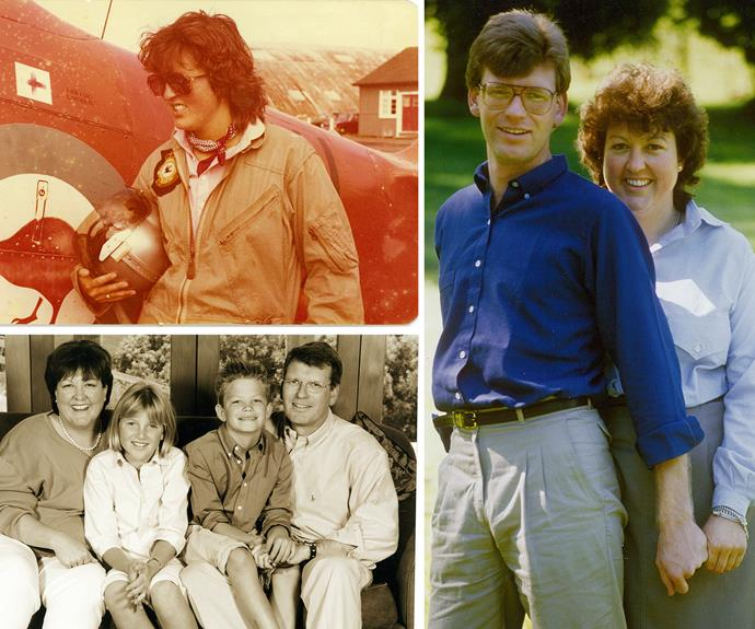 From top left: Jo in her early 20s, after flying a Harvard – she'd had her pilot's licence for a couple of years.  Jo and husband Ross, mid 1980s. The family in 2000, when daughter Kate was 11.