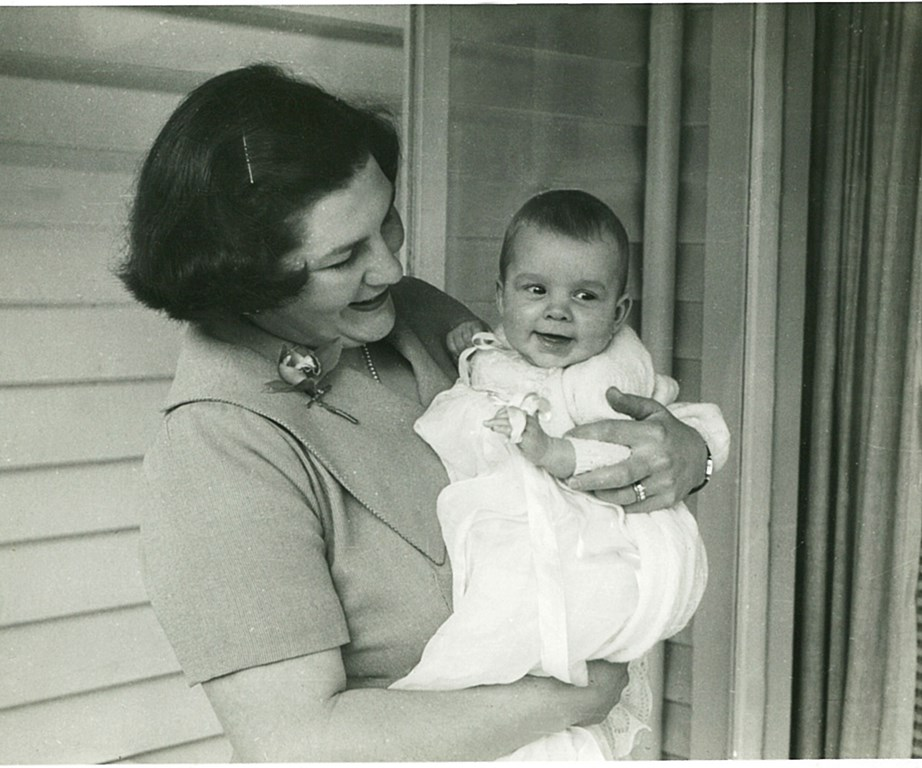 Jo, aged about six months, with her mother on the day of her christening.