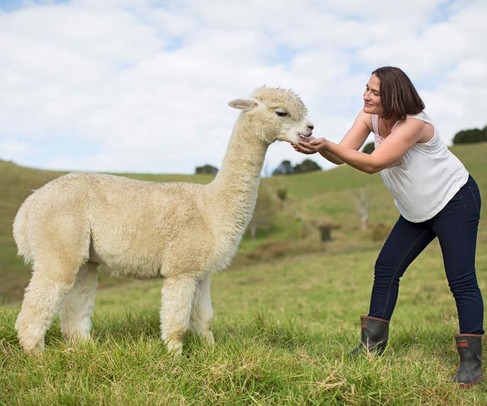 Antonia Murphy with her beloved alpaca.