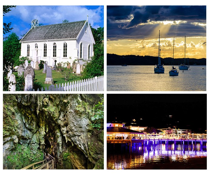 Clockwise from left: Christ Church, Russell. Paihia is at the centre of a yachting paradise. Paihia's 35° South restaurant. The entrance to Kawiti Caves.