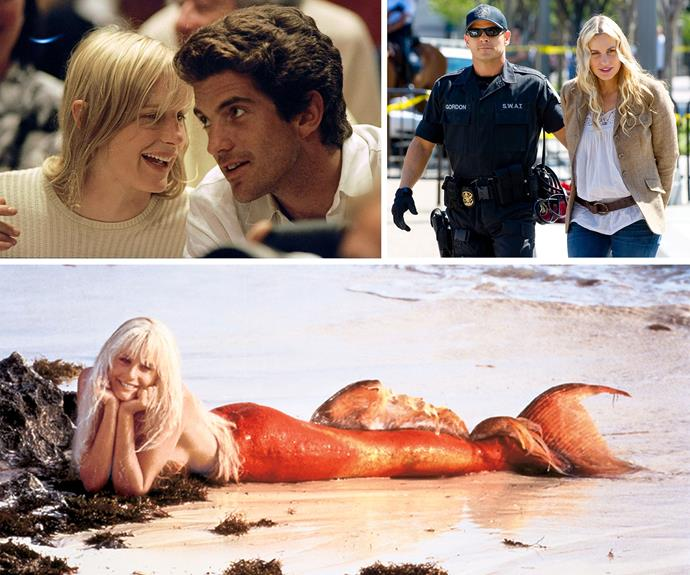 Clockwise from left: Daryl with John F. Kennedy Jnr in 1994, at an anti-war rally in 2007, in Splash, the 1984 movie that was her first hit role.