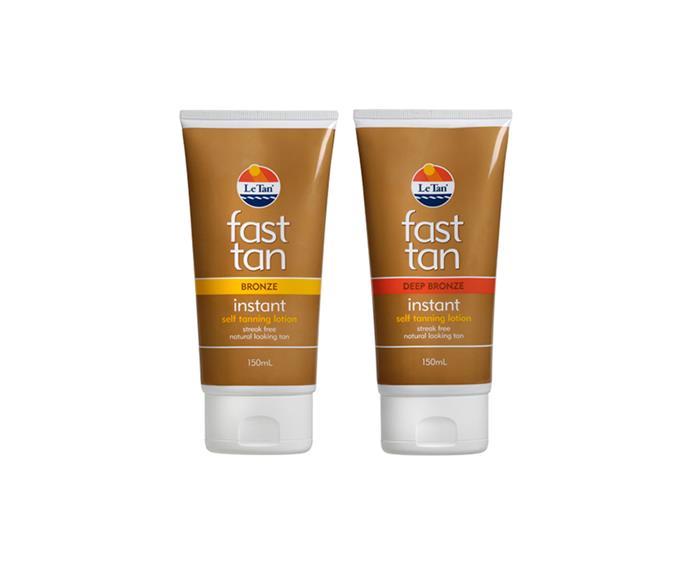 Le Tan Fast Tan, Instant Lotion, 150ml Left: Bronze. Right: Deep Bronze
