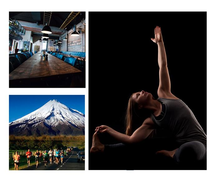 From left: The Social Kitchen; candlelight yoga at The Yoga Space; hitting the streets with fellow runners.