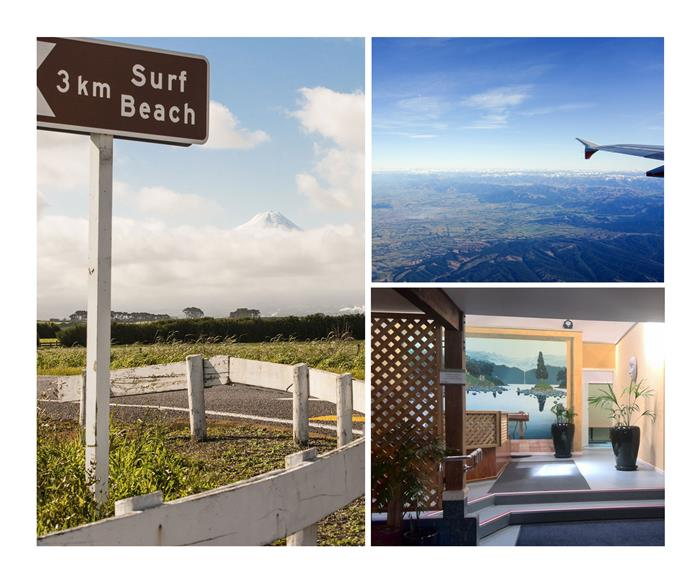 From left: the marathon starts at Egmont National Park and heads downhill towards the water; bird's eye view of Taranaki;  a cosy room at the Nice Hotel;