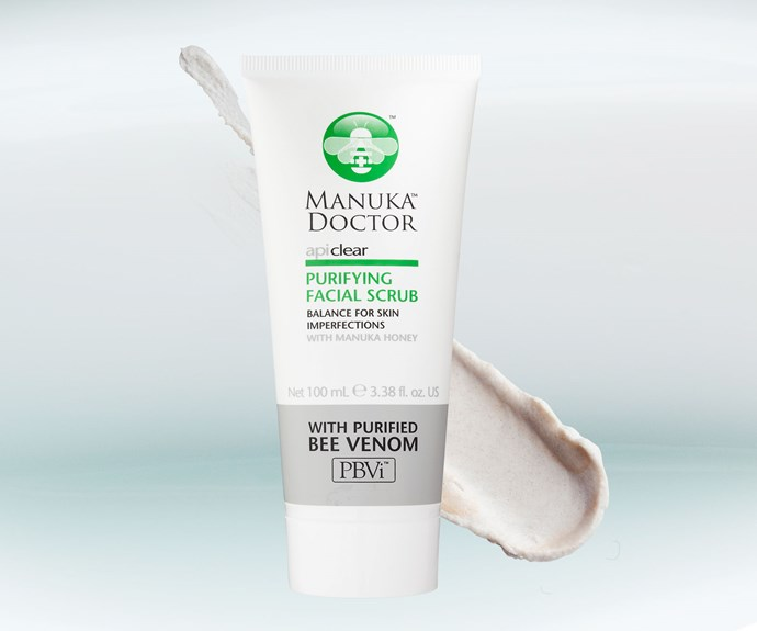 **Manuka Doctor ApiClear Purifying Facial Scrub, $35.95.** This gel-based exfoliator leaves skin supple and smooth. It contains the brand's go-to ingredient, purified bee venom, which is a natural anti-inflammatory that also encourages cell turnover. Not recommended for sensitive skin.
