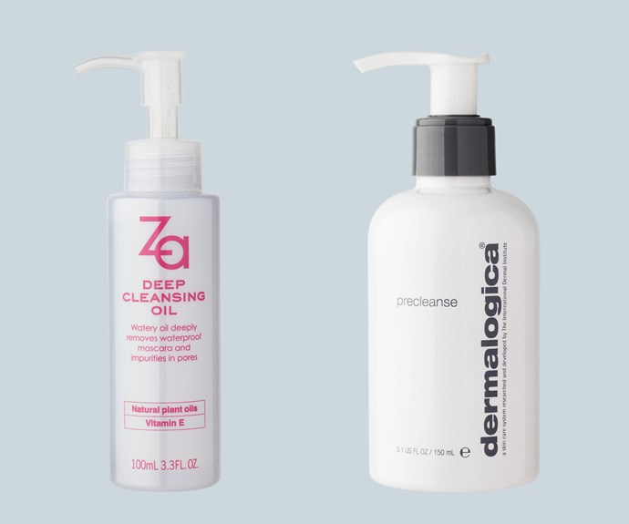 Oil: An oil-based cleanser is best for breaking down makeup and excess sebum, so think of this as your go-to product for your first cleanse. From left to right: Za Deep Cleansing Oil, $14. Dermalogica Precleanse, $66.
