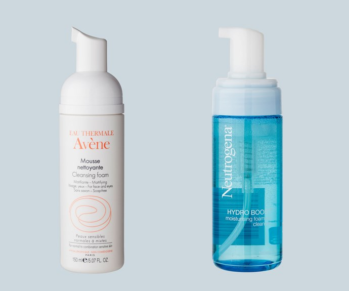 Mousse/Foaming: If your skin is onthe oily side, choose a foaming cleanser for a more thorough clean. From left to right: Avène Cleansing Foam, $39.99. Neutrogena Hydro Boost Moisturising Foaming Cleanser, $15.99.