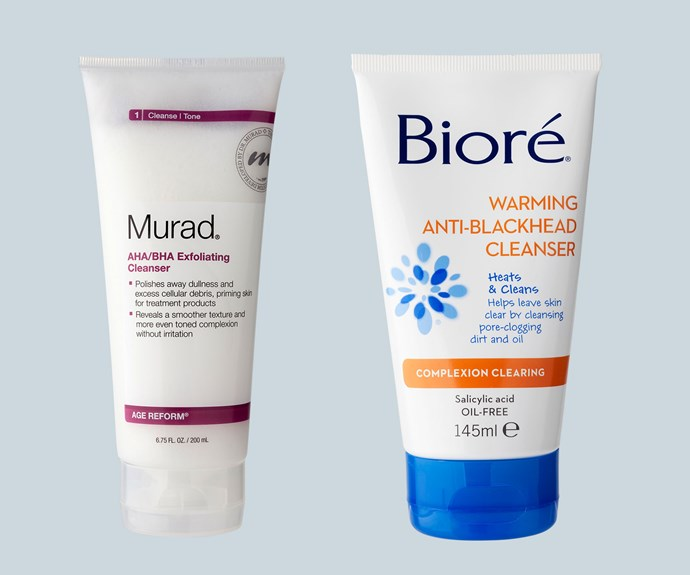 Exfoliating: These aren't for removing makeup, so use as your second cleanse two-to-three times a week. This will help encourage cell renewal as well as clear congestion and tackle subtle pigmentation. From left to right: Murad AHA/BHA Exfoliating Cleanser, $68. Bioré Warming Anti-Blackhead Cleanser, $16.95.