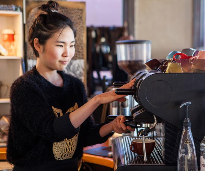 "A barista at Banco cafe. For Hale, the positives of living in the small Waikato town far outweigh any negatives. ""The sense of community is strong."""