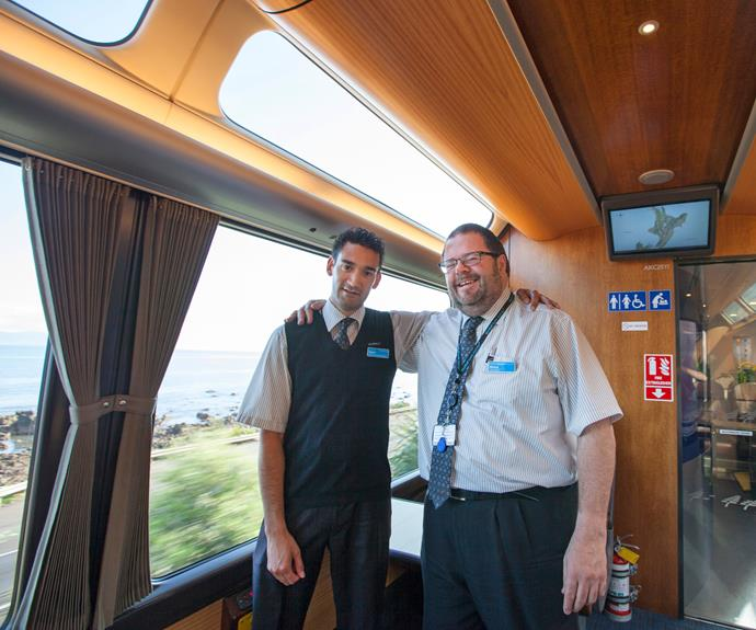 Onboard service manager David (left) and train manager Bruce.