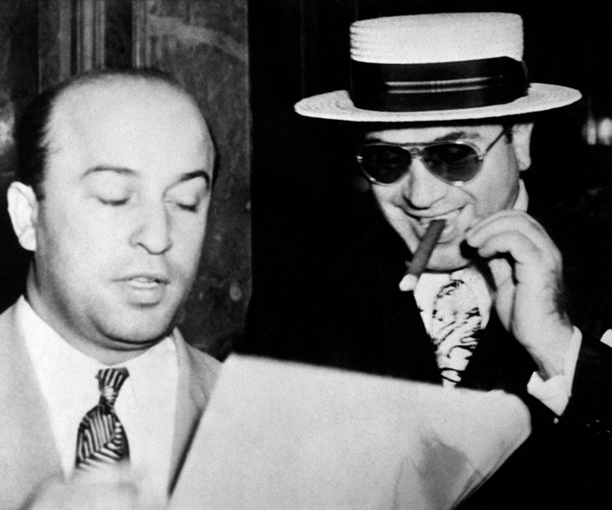 US gangster Al Capone (right) with his attorney, Abraham Teitelbaum, in 1931.