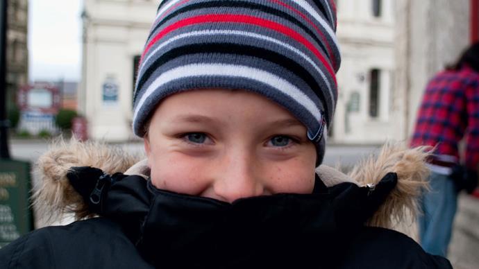 Child enjoying small town life.