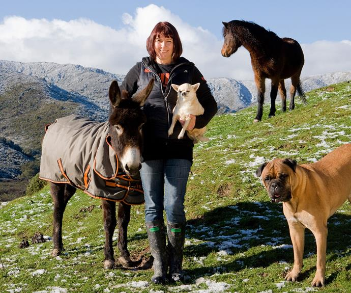 Carolyn Press-McKenzie at Kaitoke with some of her rescue animals