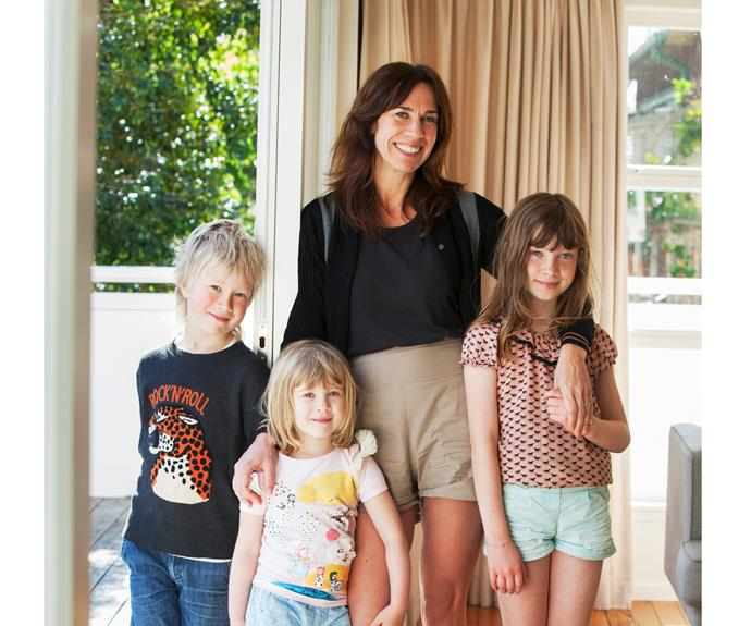 Jackie van Beek and her children (from left) Emmett, Cassie and June.