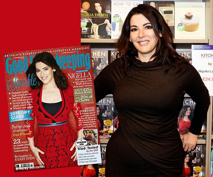 Nigella's weight has fluctuated over the years, but the celebrity chef has shed the pounds after a particularly brutal phase in her personal life. She revealed her new figure in *Good Housekeeping* (left).