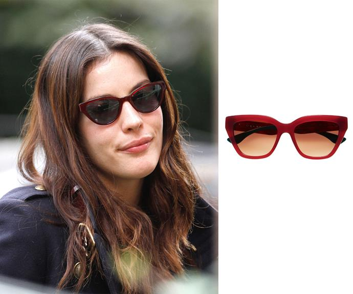 **Oval Face - Liv Tyler** Cat eye lens If you have an oval face shape you're lucky because most styles of sunglasses will suit you. However, to make the most fashion impact opt for a cat eye frame. This dramatic shape can take a classic outfit to the next level in the style stakes. Right: Lauren in milky berry, $250, Verge.