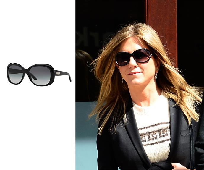 **Heart face - Jennifer Aniston** Butterfly lens If you've struggled to find shades that suit you, you may have a heart-shape face. Those with heart faces tend to have a wider forehead and sharper chin so the larger lens of butterfly sunglasses will balance your face. Left: Ralph in black/grey, $160, Ralph Lauren at Sunglass Hut.