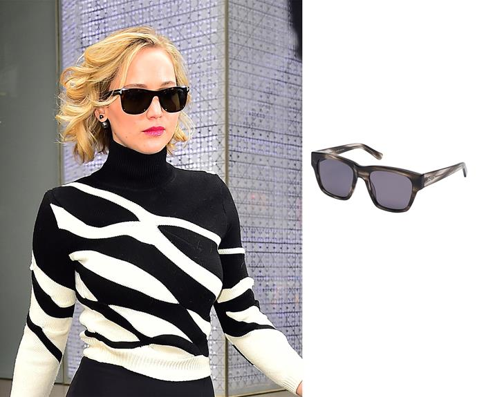 **Round face- Jennifer Lawrence** Square lens A round face has notable curves and less angular features, so to find the most flattering frames avoid round shapes. Square sunglasses are perfect as they'll help elongate your face as well as making a fashion statement. Right: Anna in streaky grey, $357, Kate Sylvester.