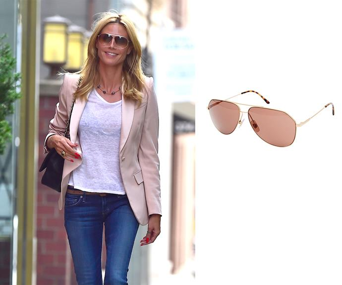 **All faces - Heidi Klum** Aviators There's a reason aviator sunglasses are a classic; they work for every face shape. If you're looking to invest in frames that will last season after season, pick this perennial favourite. Right: Dolce & Gabbana gold aviators, $404, Asos.