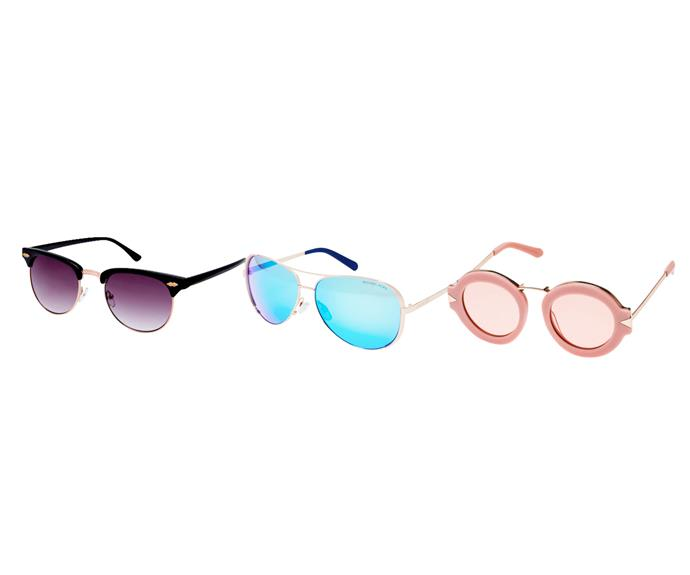 **On trend: coloured lenses** This season sees a big return to coloured lenses. Most hued lenses are purely for show and won't affect vision but pink shades are proven to be great in low light conditions. Purple: Jenny Clubmasters, $33, Forever New. Blue: Michael Kors Chelsea aviators, $239, Asos. Pink: Maze in dusty pink/gold, $349, Karen Walker.