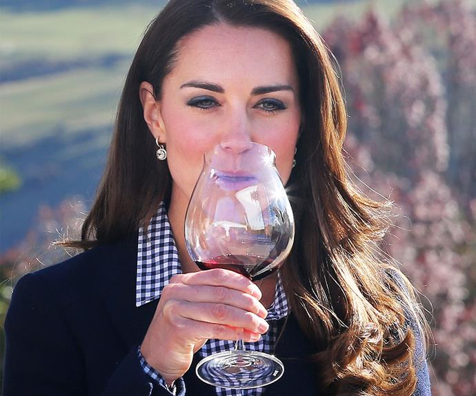 Duchess Kate tasting red wine