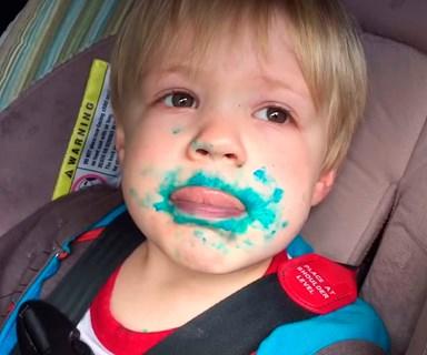 Adorable toddler denies eating cupcake