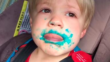 Adorable toddler denies eating cupcake