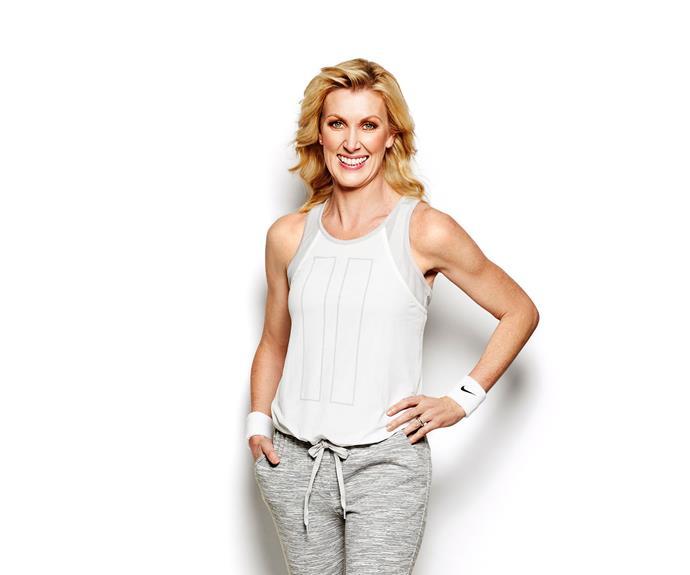 Rachel wears Country Road tank, Lululemon pants and Nike sweatbands from Rebel Sports.