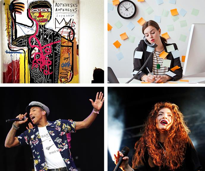 Brain hacks, clockwise from top left: visual cortex (Portrait of the Artist as a Young Derelict by Jean-Michel Basquiat); invention; cognitive; creativity (Lorde); auditory cortex (Pharrell Williams).