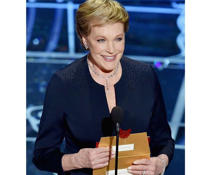 Julie speaking at the Academy Awards.