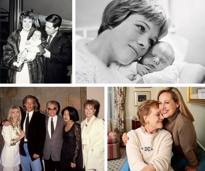 Clockwise from top left: Julie, first husband Tony Walton and Emma; with newborn Emma; Emma hugs her mum; Julie and family in 2001.