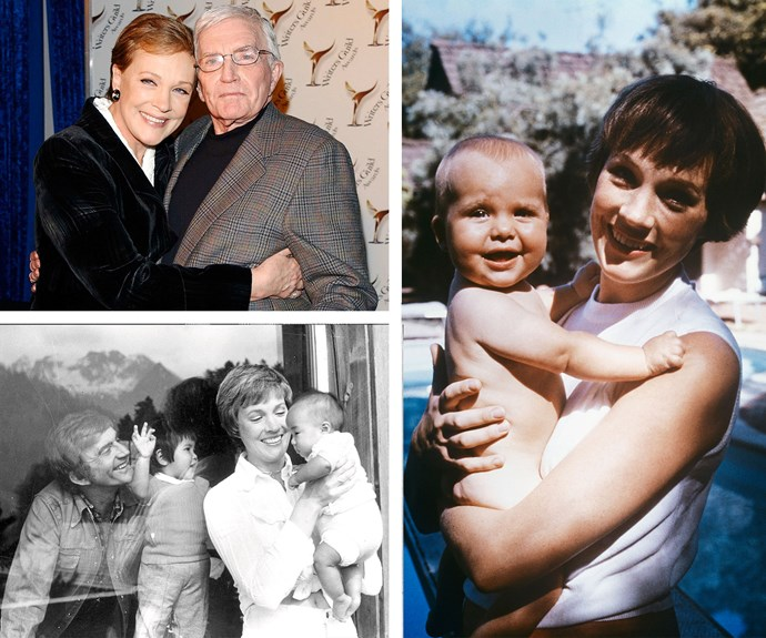 Clockwise from top left: Julie with Black Edwards; Julie and Emma, 1965; Blake, Julie and their adopted daughters.