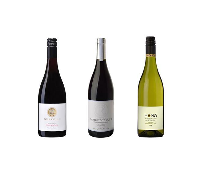 From left to right: Ballasalla Central Otago Pinot Noir 2013, $30. Cambridge Road Martinborough 'Dovetail' 2010, $65. Seresin 'Momo' Sauvignon Blanc 2014, $20.